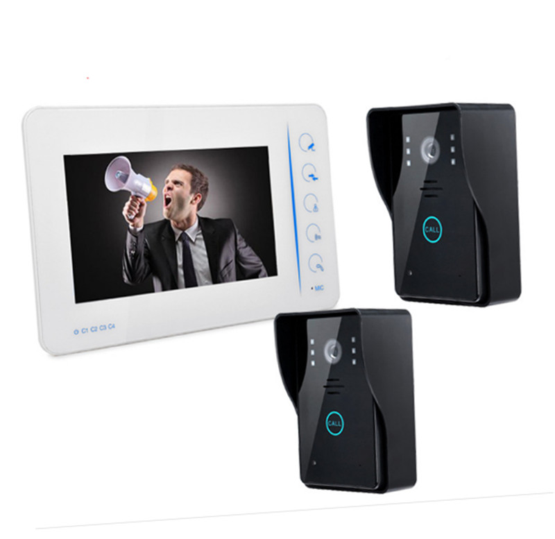 7 Inch Rain-proof Intercom Video Doorbell With 2 Outdoor Camera