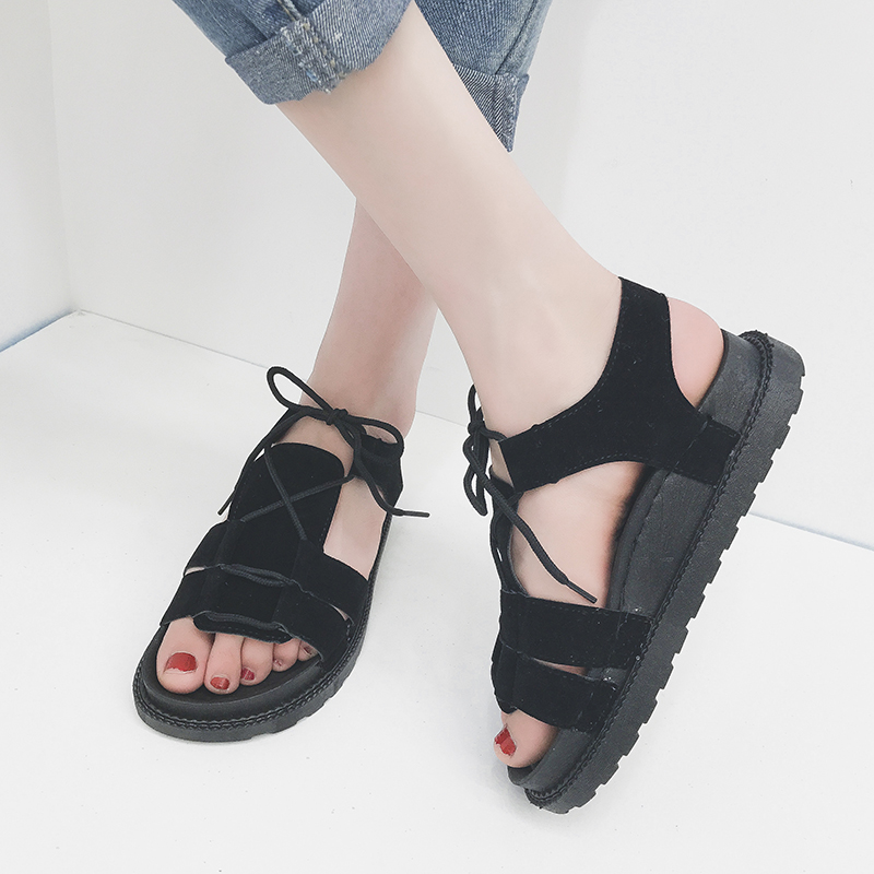 Moxxy 2018 Women Sandals Summer Fashion Black Beach Shoes Lace Up Gladiator Simple Shoes Flip-flop Sandals Women's Shoes women shoes 2018 summer breathable fashion lady s casual shoes lace up girls handmade women woven shoes flip flop footwear 599w