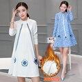 Las mujeres embarazadas otoño invierno 2016 Vestido Coreano, Además de terciopelo Una palabra en la manga larga de las mujeres traje
