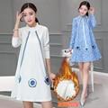 Pregnant women fall winter 2016 Korean Dress Plus velvet A word  in the long sleeved women  suit