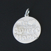 Purity 925 Sterling Silver Message Pendant Spanish I Love You Mama Message Charms DIY Charms With