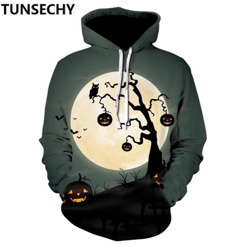 New Halloween 2018 3Dprinted hooded hoodies for men and women in retail and wholesale