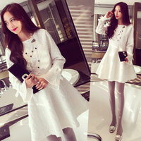 plus big size women clothing dress 2016 fall winter korean vestidos morality thin thick render A word lace dress A1075