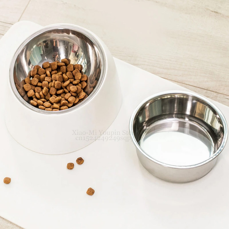 Youpin Stainless Steel Pet Dog Bowl Puppy Cats Food Drink Water Tilted Feeder With BaseSupplies Non slip Feeding DishesSmart Remote Control   -
