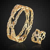 luxury brand 3A cubic Theresa zircon copper bangle jewelry with ring wedding accessory sets metal copper couple bangle ring set