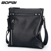 BOPAI 2017 Fashion Men Bag Crossbody Bag Genuine Leather Male Small Shoulder Bag Business Men S