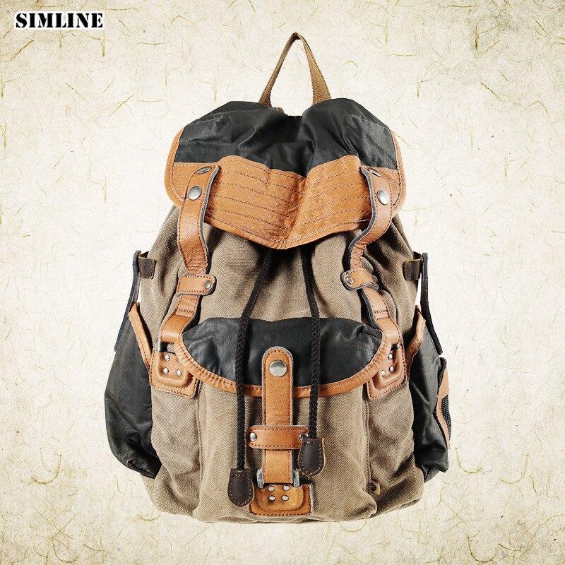 SIMLINE Vintage décontracté en cuir véritable toile sac à dos sac hommes homme grande capacité voyage sacs à bandoulière sacs pour homme homme