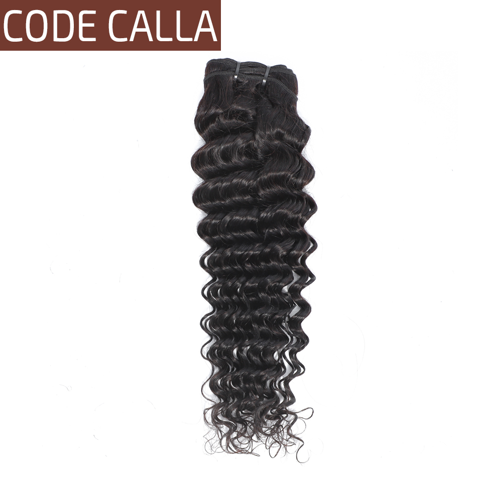 Code Calla Salon Hair Deep Wave Brazilian Remy Human Hair Extension Weave Bundles Natural 1B Black Color Weave Bundles For Women(China)