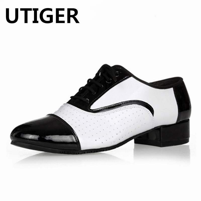 2019 New Genuine Leather Men Latin Dance Shoes White Adult Modern Dancing Shoes 3CM 4 5CM