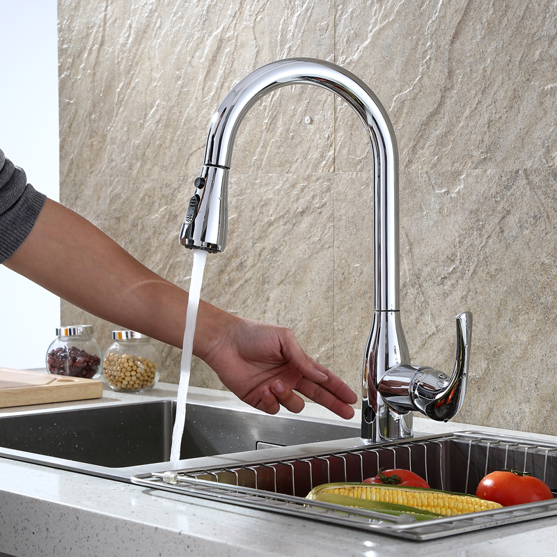 Smart Home Kitchen Sink Dual Mode Sensor Touchless Faucets with Pull Down Sprayer Brushed Nickel One