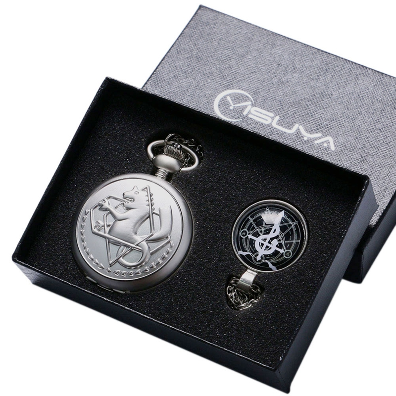 Luxury Silver Fullmetal Alchemist Pocket Watch With Edward Elric's Glass Dome Pendant Necklace Men Women Christmas Gifts Box Set