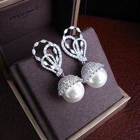 Heißer verkauf Mode frauen ohrringe Antike AAA zirkonia völlig jewelled große perle ohrringe, H7355