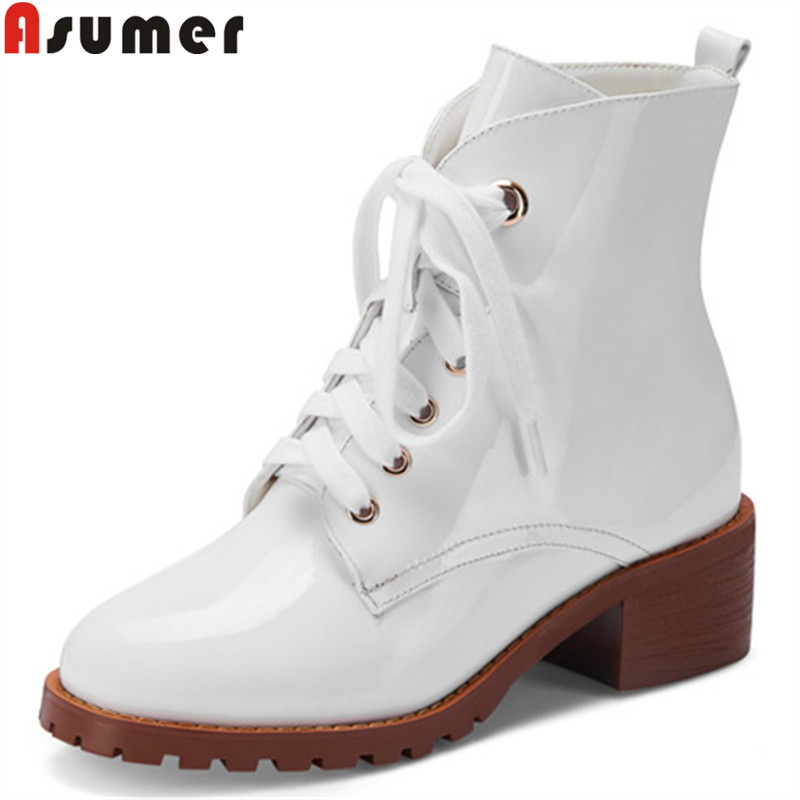 ASUMER big size  34-45 new ankle boots round toe lace up genuine leather shoes square heels autumn winter boots solid colorsASUMER big size  34-45 new ankle boots round toe lace up genuine leather shoes square heels autumn winter boots solid colors