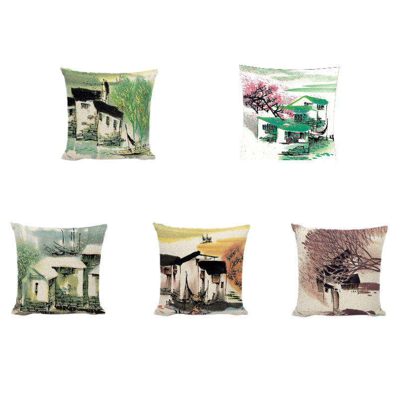 Watercolor Chinese Ancient Town Building Cushion Covers 45 cm Swallow Boat Willow Home Living Room Sofa Decorative Pillow Cases