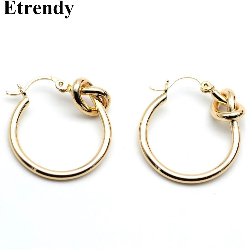 Warna emas Simpul Hoop Earrings Untuk Wanita Fashion Jewelry Simple Street Style Trendy Earring Temperamen Hadiah
