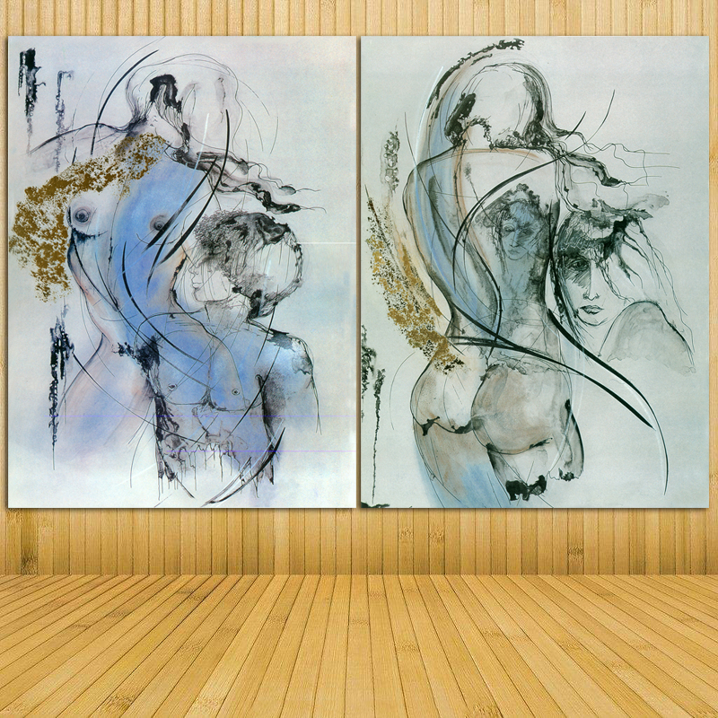 Abstract Sexy Nude Women And Man Canvas Painting Ladies Body Photo Wall Art Pictures Modern Unframed Bedroom Home Decor