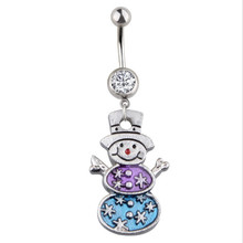 New Arrival Surgical Steel Dangle Navel Rings Snowman Navel Fashion Women Belly Button Ring Piercing Body Jewelry Christmas Gift(China)