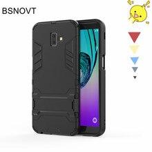 For Samsung Galaxy J6 Prime Case Silicone+Plastic Kickstand Phone Plus Cover J610F