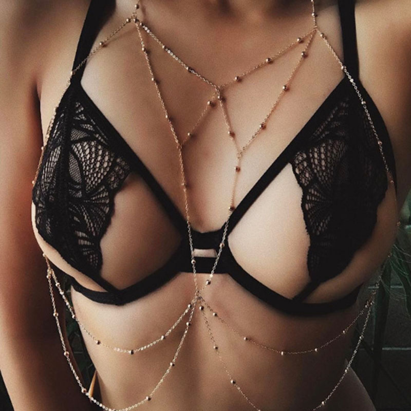Gold Silver Color Body Chain Cross Beads Jewelry For Women Multilayer Necklace Belt Sexy Beach Bikini Bra Harness Belly Chains