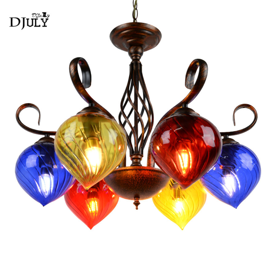 Southeast Asia Colored glass metal chandelier lighting for Internet cafe dining room loft retro art luminaire light fixturesSoutheast Asia Colored glass metal chandelier lighting for Internet cafe dining room loft retro art luminaire light fixtures