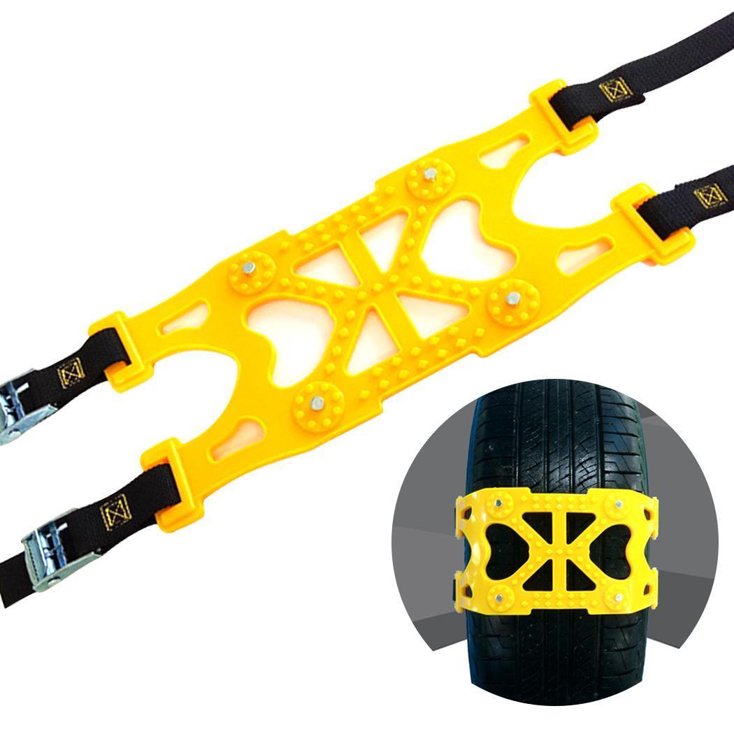 Voiture d'hiver Installation facile neige roue chaîne pneu anti-dérapant jaune ceinture