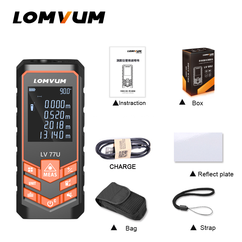 LOMVUM LV 77U Handhold Laser rangefinder Digital Laser Distance Meter USB-Charge Electrical Level tape Laser distance measurer lv h42 keyence digital laser sensor
