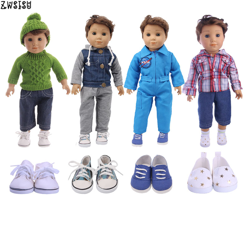 Doll Clothes 4 Styles 2 Pcs+Coat/Sweater+Jeans/Pants Spacesuit For 18 Inch American&43 Cm Born Logan Boy Doll Our Generation Toy