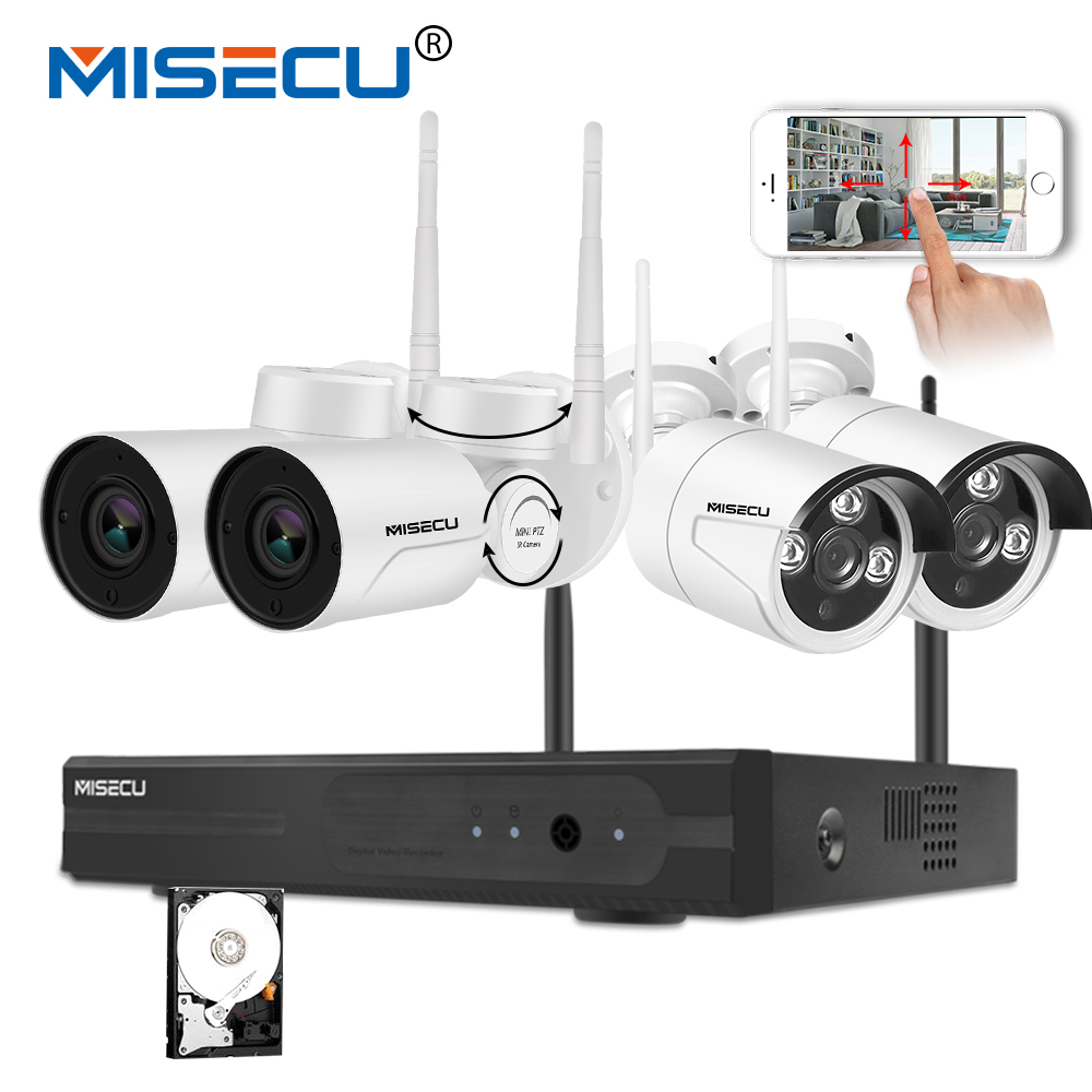 MISECU HD 1080P Wireless CCTV System 4CH NVR Plug and Play Kit 2MP Outdoor Waterproof Pan Tilt IP Wifi Camera P2P Home Security misecu easy installation plug play 2 4g wifi kit 720p 1080p vga hdmi 4ch nvr wireless p2p 720p wifi ip camera waterproof cctv