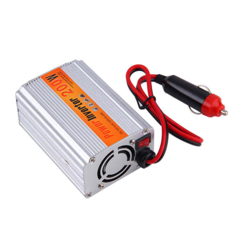 New 1pcs 12V DC to AC 220V Car Auto Power Inverter Converter Adapter Adaptor 200W USB New Dropping Shipping bestek 150w car power inverter 12v 220v dc ac converter 12v to 220v adapter 1 usb charging port charger auto power inverter