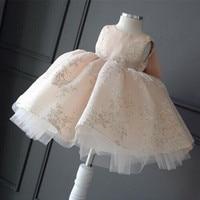 فستان زفاف زهرة فتاة فساتين الأطفال الأميرة بنات يا الرقبة أكمام طباعة كبيرة القوس الكرة ثوب توتو اللباس