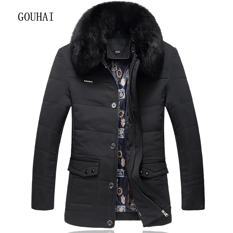 Solid Long Parkas Men Fur Collar Cotton Warm 2019 Mens Winter Jacket Male Overcoats Plus Size L-4XL Brand Clothing Man Coat