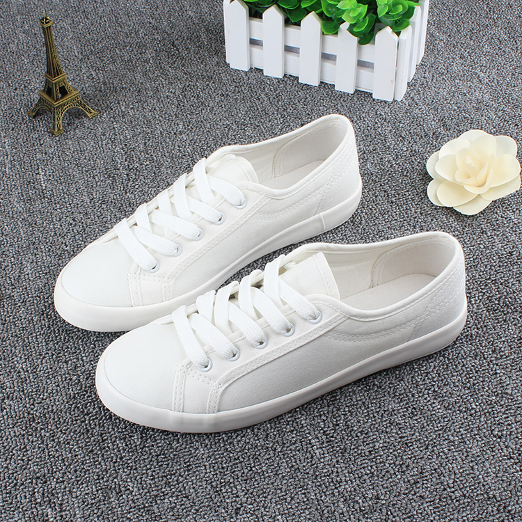 Hot Sale Fashion Women White Canvas Shoes Concise Low Top Casual Flat Student Shoes Lace Up Canvas Women Shoes Plus Size 35-44 hot sale 2016 top quality brand shoes for men fashion casual shoes teenagers flat walking shoes high top canvas shoes zatapos