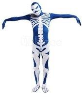Unisex Lycra Spandex Skelet Patroon Zentai Suits Halloween Kostuum