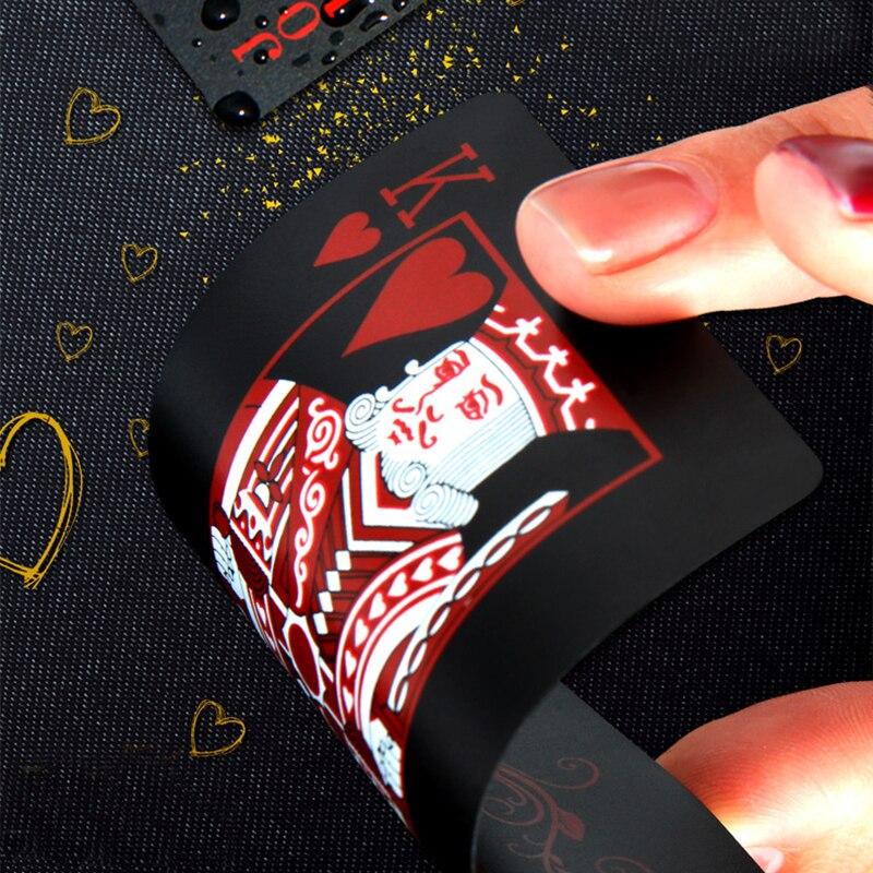 Qara Gül Plastik Poker Kartları Ətraflı PVC Plastik Oyun - Əyləncələr - Fotoqrafiya 2