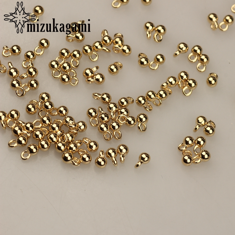 200pcs/lot 3*6MM Gold-Metal Plated CCB Round Ball Tail Extender Chain Pendant For DIY Jewelry Bracelet Accessories