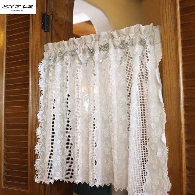 XYZLS קצר וילון למטבח דלת חצי וילונות אמריקאי סגנון לבן תחרה חלול החוצה דק וילון