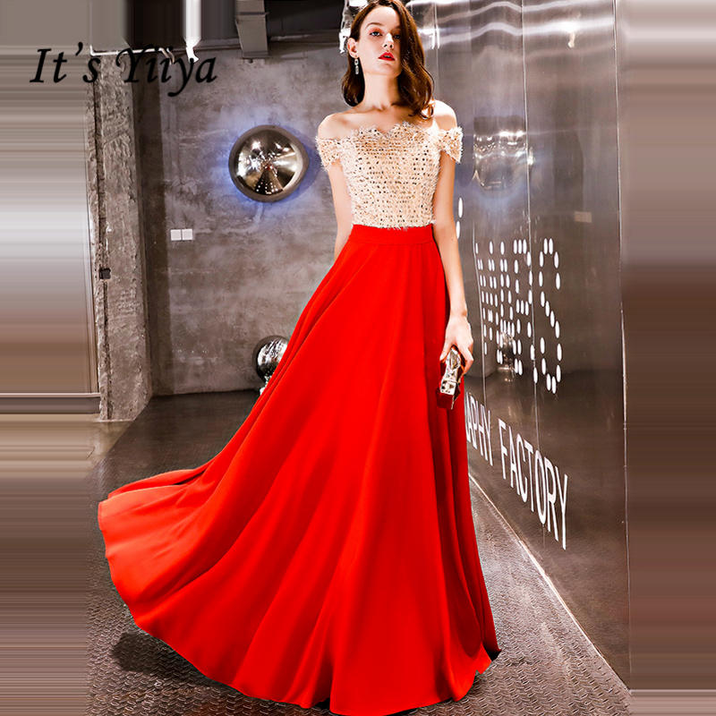 It's YiiYa Evening Dress 2018 Gold Sequined Tassel Patch Red Boat Neck A-line Floor-length Dinner Gowns LX1303 Robe De Soire