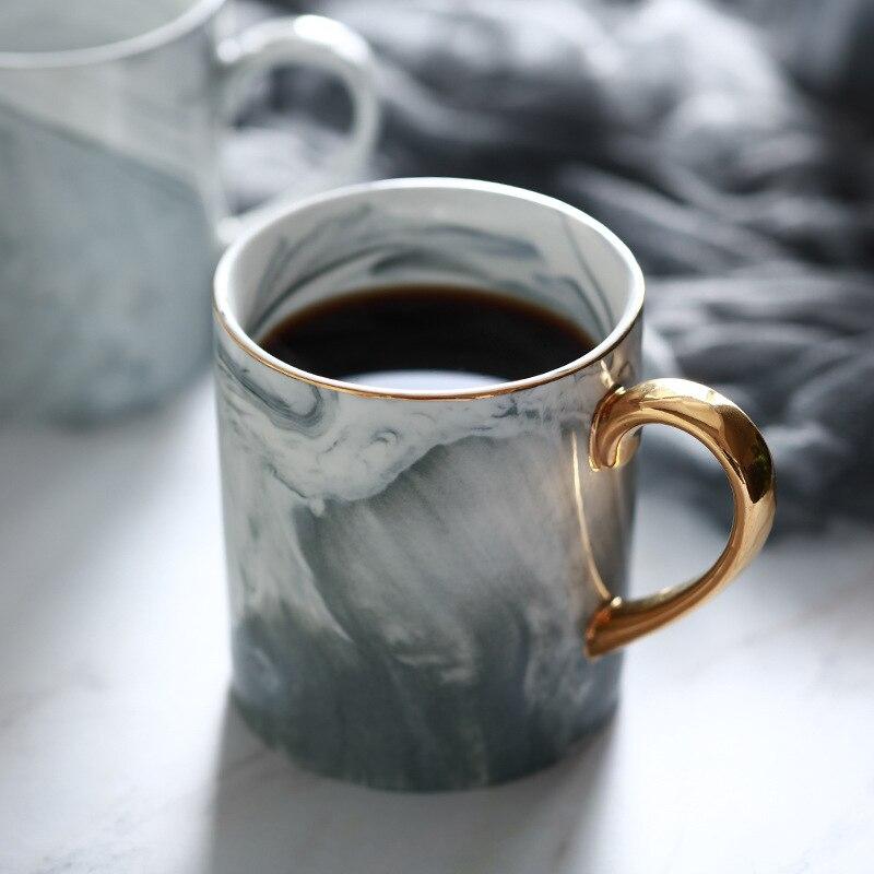 Lekoch tazas europeas de mármol de grano de phraph pareja amante regalo mañana taza leche café té desayuno taza de porcelana para regalos