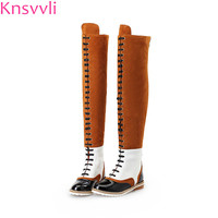 New Genuine leather Martin Boots Women Fashion Mixed Color Low heel Lace Up Over The Knee Boots studded Chain Botas Mujer