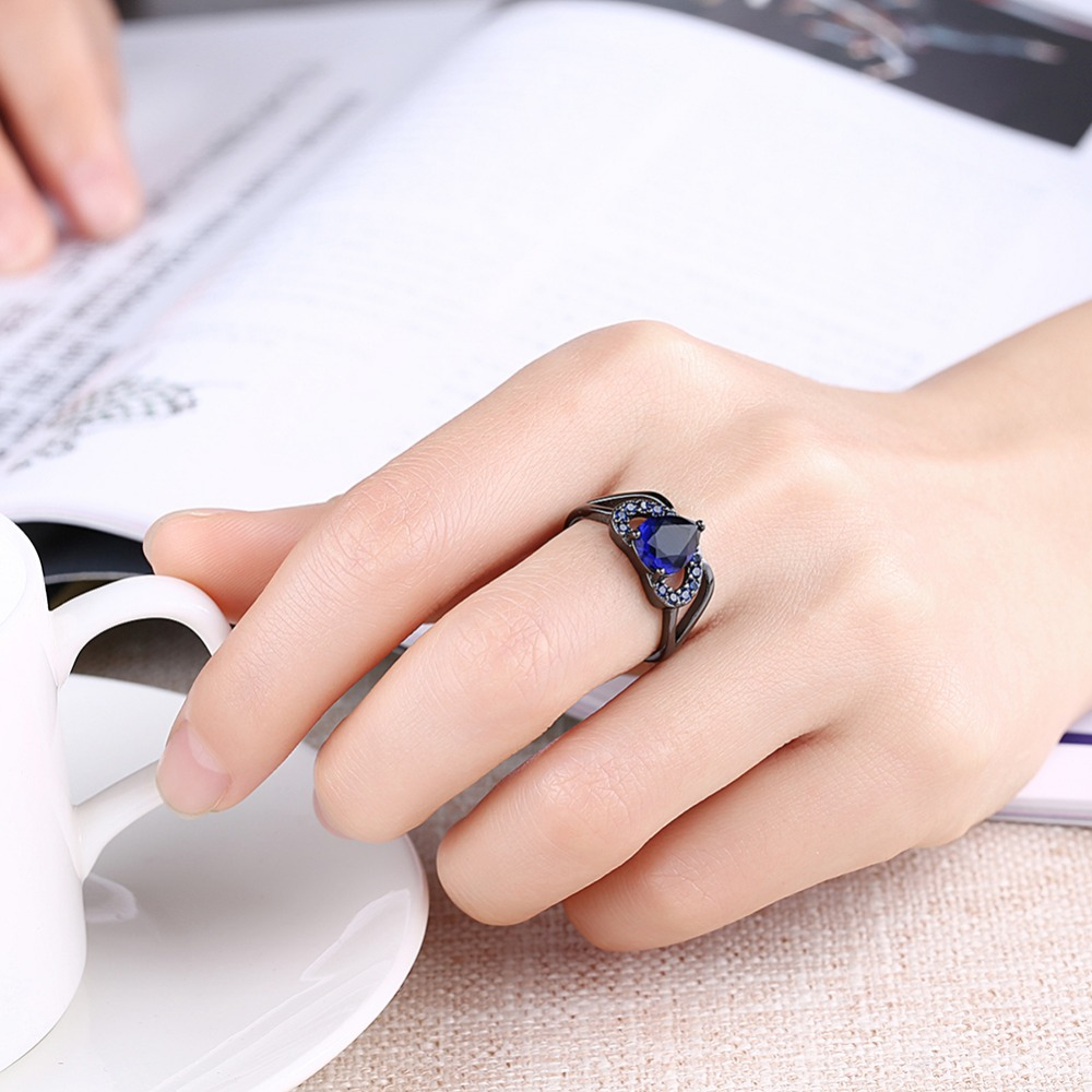 ộ_ộ ༽MEGREZEN Black Cubic Zirconia Rings Jewelry Wedding ...