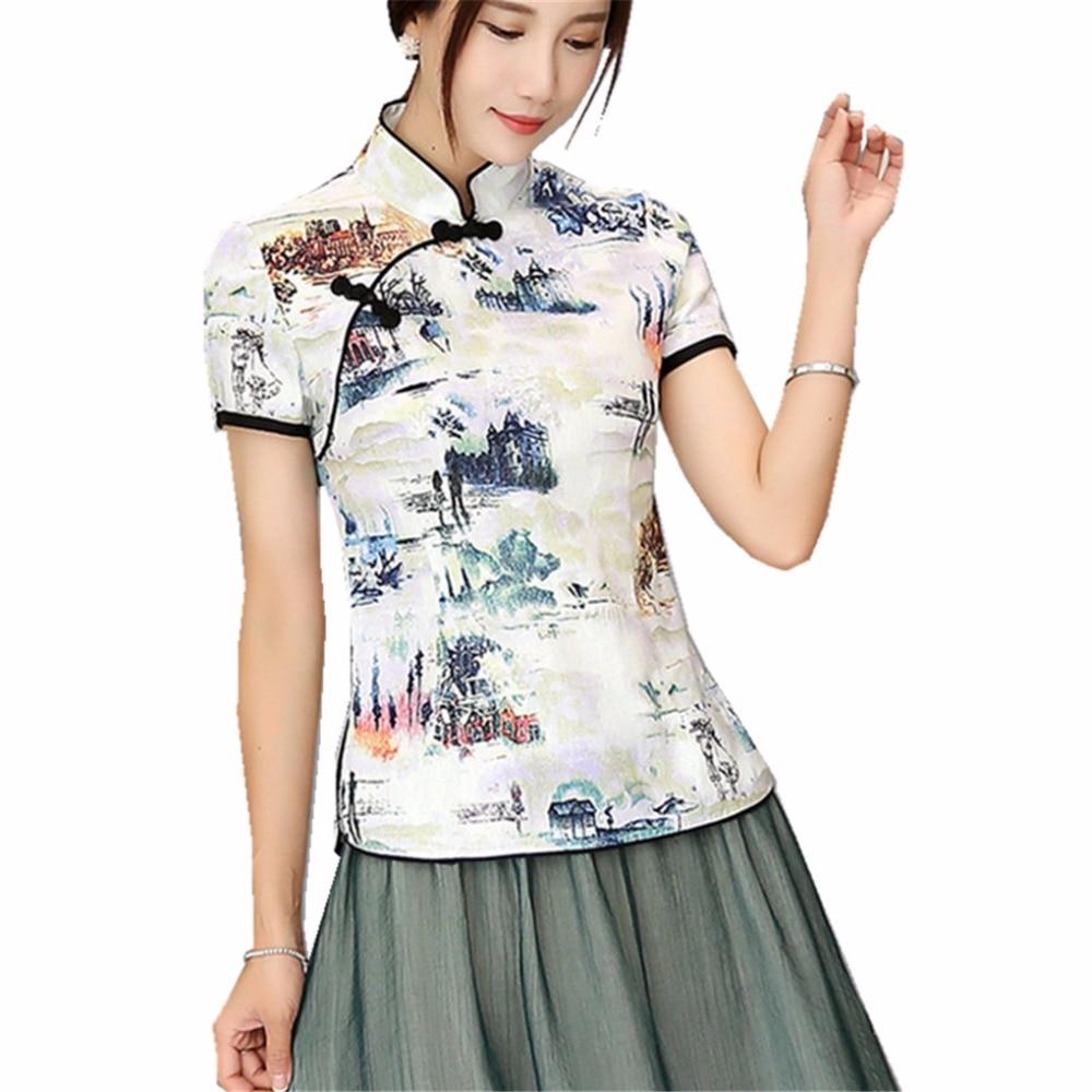 c49e048423ff Shanghai Story mandarín Collar mujer Qipao camisa China top manga corta  cheongsam top tradicional ...