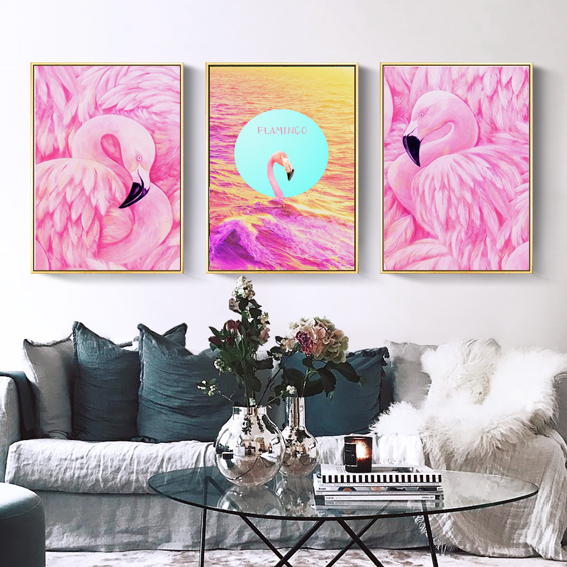 Nordic Cartoon Ins Pink Flamingo Art Canvas Painting Poster Print ...
