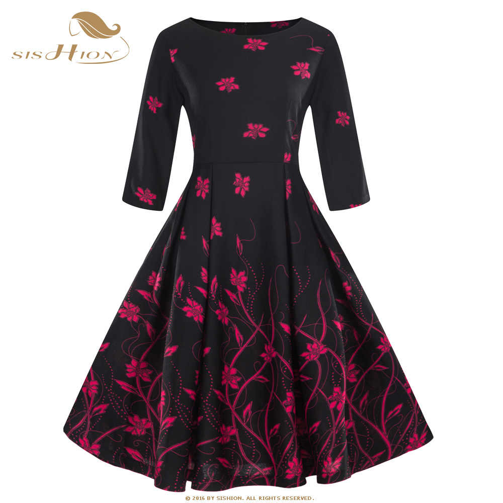 f0b166623729 SISHION 10 Colors Autumn Dress 2018 Women Long Sleeve Black Dark Blue Wine  Red Floral Print