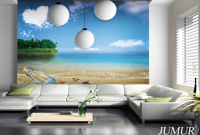 2015 New Customized 3d Beach Wallpaper Murals Beautiful Nature Scenery For Tv Background Home
