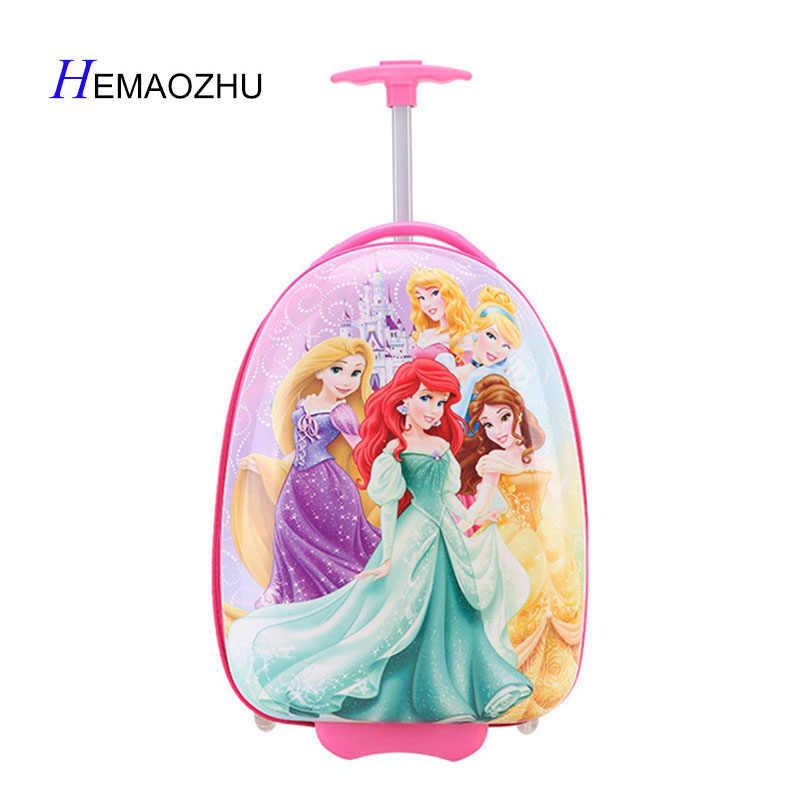 2018 Новый Детский чемодан для девочек, 16 дюймов, Детский чемодан принцессы Микки, чемодан на колесах из АБС-пластика
