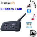 1 * V6 1200M 6 Riders BT Multi Interphone Bluetooth Intercom Motorcycle Wireless Headsets Headphones Accessories Helmet Headset
