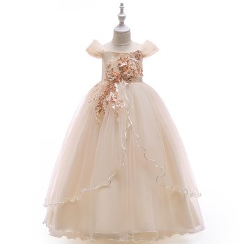 4-14 Years Kids Dress Flower Long Lace Elegant Teenagers Prom Gowns Dresses Girl Party Kid Evening Bridesmaid Princess LP-213 1