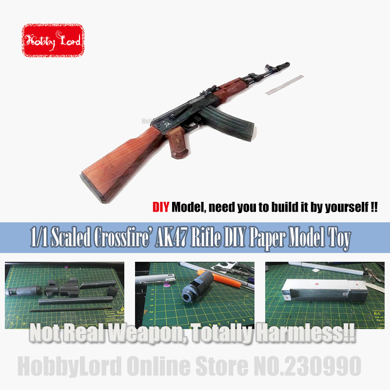 Original 2017 New Scaled Cross Fire AK47 3D Paper Model Simulation Weapons Assault Rifle Model Gun <font><b>Toys</b></font> For Children Adult image