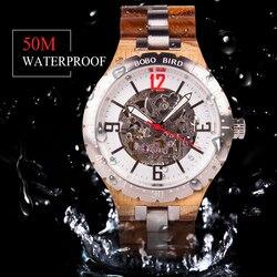 BOBO ptak zegarek mechaniczny mężczyźni drewno metalowy zegarek automatyczny wodoodporny biznes wojskowy zegarek Armbanduhr J Q29 Zegarki mechaniczne    -
