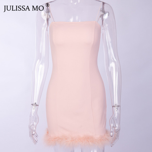 JULISSA MO Pink Spaghetti Strap Feathers Dress Women Strapless Bodycon Faux Fur Dress Night Party Mini Pencil Dresses Vestidos